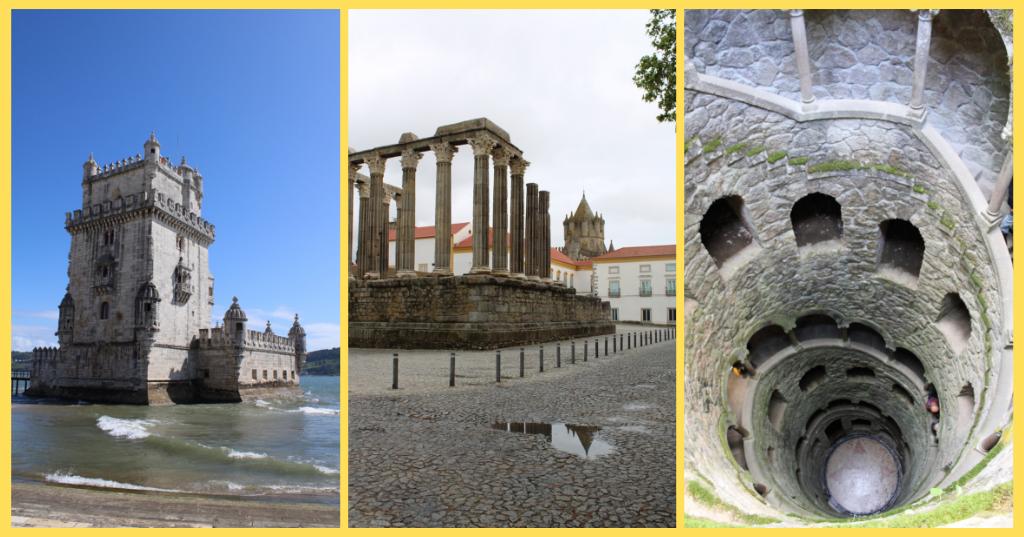 La torre di Belem a Lisbona, il tempio di Diana a Evora e il pozzo iniziatico a Sintra